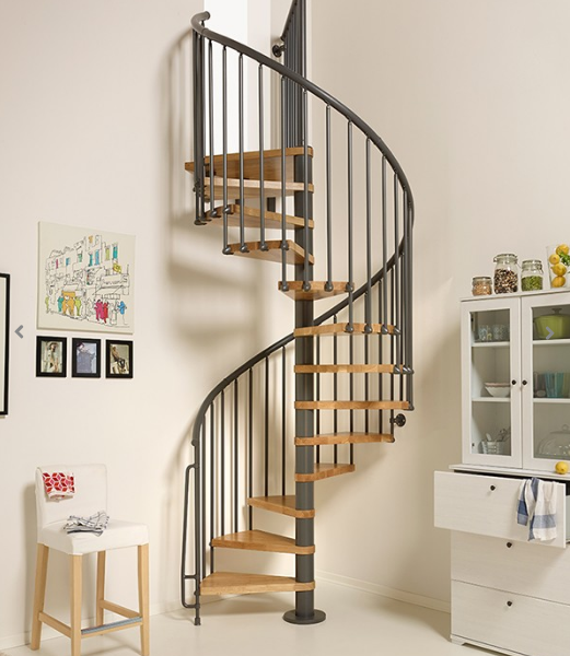 Oak70 Spiral Staircase In Iron Grey By TheStaircasePeople.co.uk