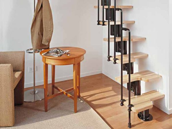 Karina Spacesaver Staircase in Black and Light Beech Treads by Fontanot from The Staircase People