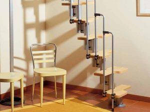 Karina Space Saving Staircase in Grey and Light Beech by Fontanot from The Staircase People
