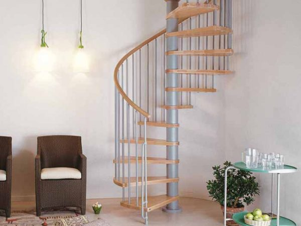 Klan Spiral Staircase in Grey with Light Beech Treads from The Staircase People