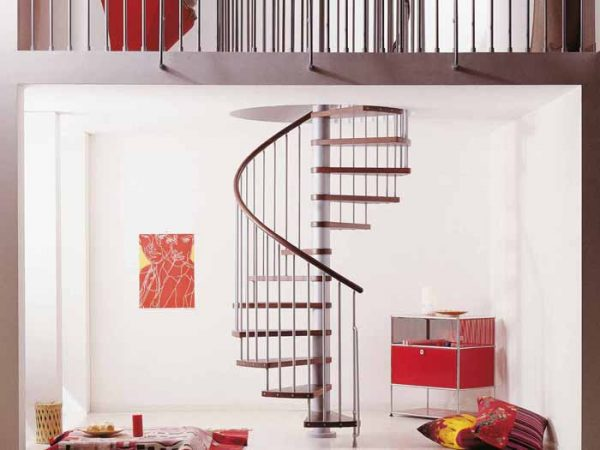 Klan Spiral Staircase in Grey with Dark Beech Treads from TheStaircasePeople.co.uk