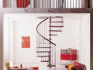 Klan Spiral Staircase in Grey with Dark Beech Treads from The Staircase People