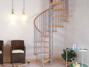 Klan Spiral Staircase Grey with Light Beech Treads from The Staircase People