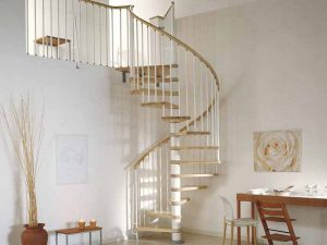 Klan Spiral Staircase in White Steel with Light Beech Treads