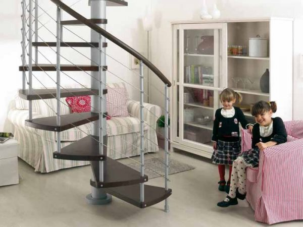 Kloe Spiral Staircase in Grey Steel with Dark Beech Treads from The Staircase People