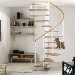 Kloe Spiral Staircase by Fontanot with stainless steel cable balustrade from The Staircase People