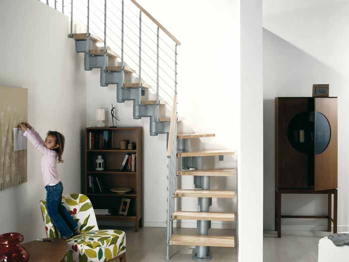 Komoda Modular Staircase In Grey With Light Beech Treads From  TheStaircasePeople.co.uk