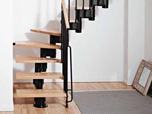 Kompact Modular Staircase L format in Black Steel and Light Beech Treads from The Staircase People