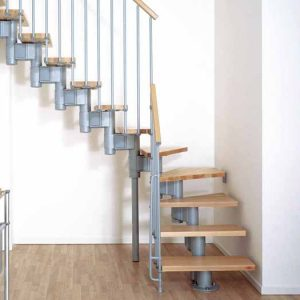 Kompact Modular Staircase in L format in Grey Steel and Light Beech Treads from The Staircase People