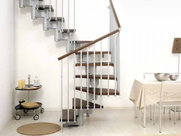 Kompact Modular Staircase U format in Grey Steel and Dark Beech Treads from The Staircase People