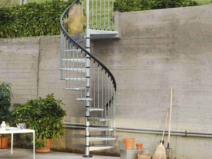 Civik zink outdoor spiral stair kit the staircase people - Exterior metal spiral staircase cost ...