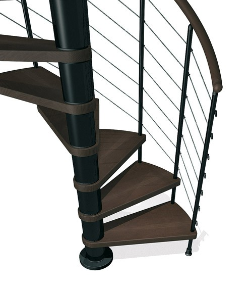Kloe Spiral Stair in Black with Dark Beech Treads from TheStaircasePeople.co.uk