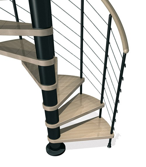 Kloe Spiral Stair in Black with Light Beech Treads from TheStaircasePeople.co.uk