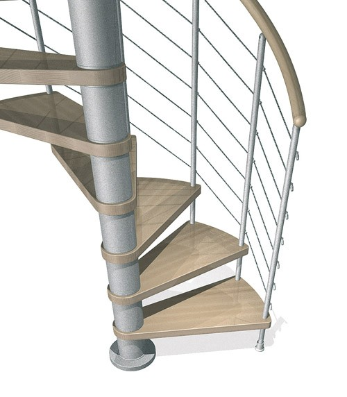 Kloe Spiral Stair in Grey with Light Beech Treads from TheStaircasePeople.co.uk