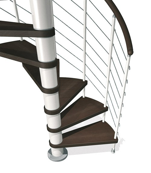 Kloe Spiral in White with Dark Beech Treads from TheStaircasePeople.co.uk