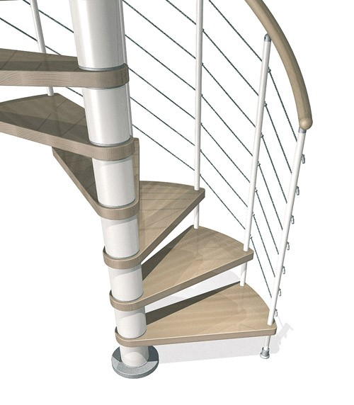 Kloe Spiral in White with Light Beech Treads from TheStaircasePeople.co.uk