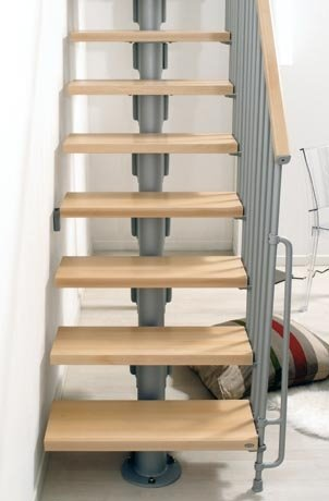 Kompact Straight Staircase in Grey with Light Beech Treads from TheStaircasePeople.co.uk