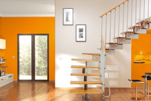 Stilo Modular Stair in Grey with Light Beech Treads from TheStaircasePeople.co.uk