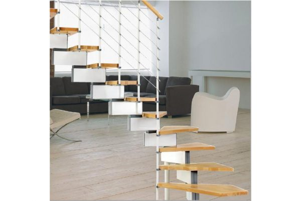 Vector 70 Modular Staircase Kit in White with Light Beech Treads from TheStaircasePeople.co.uk