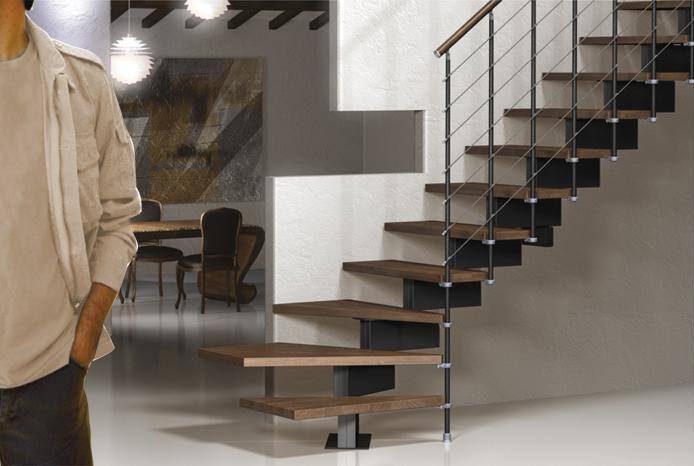 Vector Modular Stair Kit In Black With Dark Beech Treads From  TheStaircasePeople.co.uk