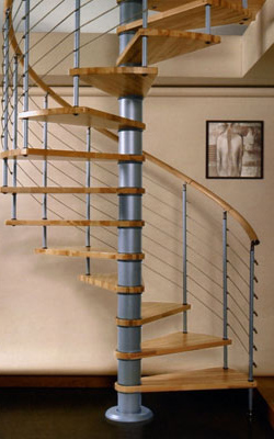 Vogue Spiral Staircase Kit in Grey with Light Beech Treads