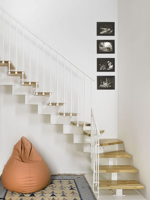 Oak90 Modular Staircase L shape in White from TheStaircasePeople.co.uk
