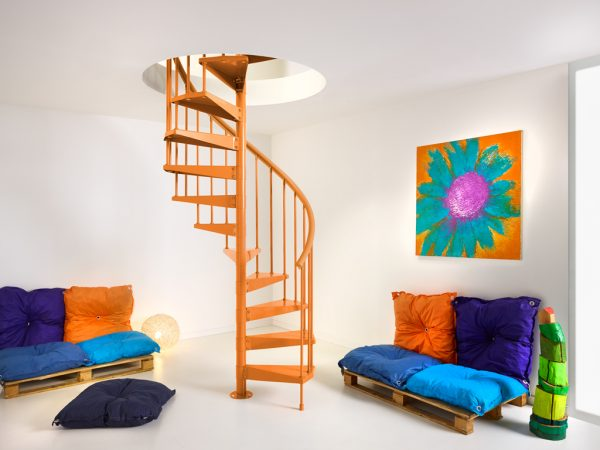 The Clip Spiral Stair in Orange from TheStaircasePeople.co.uk