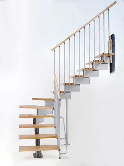 Stilo Modular Stair in Grey and Light Beech Treads from TheStaircasePeople.co.uk