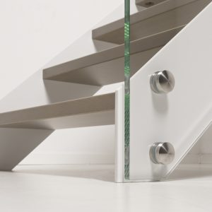 LaFont Fascia Straight Staircase with Stainless Steel Fixings on Glass Balustrade Panels