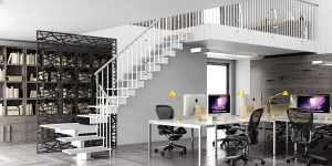 Jack Powder Coated Steel Interior Staircase n White with quarter turn tread by Ehleva