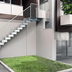 Jack Zinc External Steel Staircase with Quarter Turn Tread and Quarter Landing tread by Ehleva