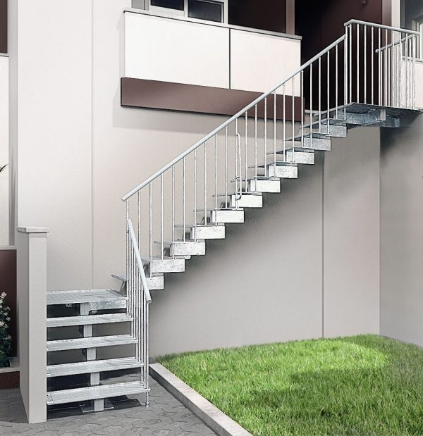 Jack Zinc Exterior Staircase with Quarter Landing Layout Mid by Ehleva